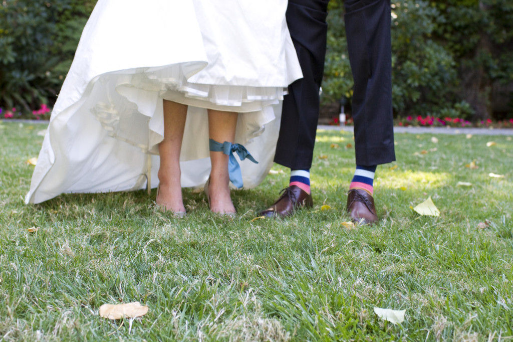 bride and groom ankles